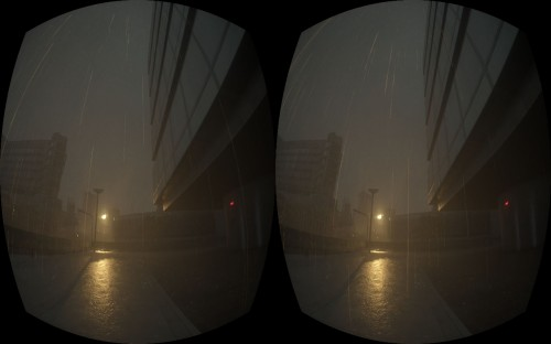 Screenshot from a prototype with preliminary support for the Oculus Rift virtual reality system.